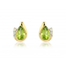 9ct Yellow Gold Peridot & Diamond Curl Earrings