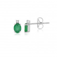 9ct White Gold Emerald & Diamonds Earrings