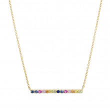 9ct Yellow Gold Multi-Coloured Sapphire Bar Necklace