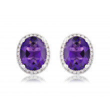 9ct White Gold Amethyst & Diamond Earrings