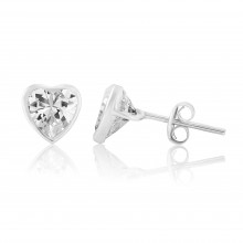9ct White Gold Cubic Zirconia Heart Earrings (Large)