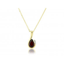 9ct Yellow Gold Garnet & Diamond Curl Pendant Necklace