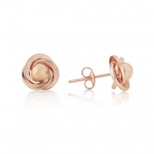 9ct Rose Gold Knot And Ball Stud Earrings