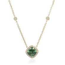 9ct Yellow Gold Diamond & Green Tourmaline Pendant Necklace