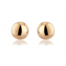9ct Rose Gold Large Plain Ball Studs