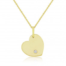 9ct Yellow Gold Diamond Engraving Heart Pendant Necklace