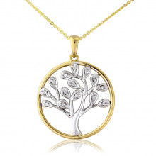 9ct Yellow & White Diamond Tree Of Life Pendant Necklace
