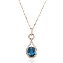 9ct Rose Gold Diamond & London Blue Topaz Pendant Necklace