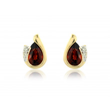 9ct Yellow Gold Garnet & Diamond Curl Earrings