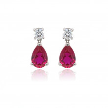 9ct White Gold Cubic Zirconia & Created Ruby Earring
