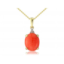 9ct Yellow Gold Diamond & Oval Coral Pendant Necklace