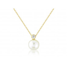 9ct Yellow Gold Diamond And Pearl Snowman Necklace