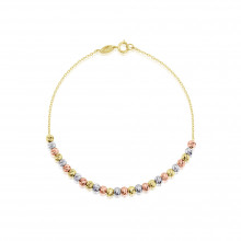 9ct Rose, Yellow and White Gold Bead Bracelet