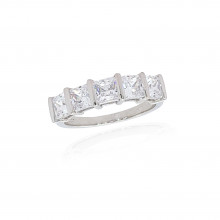 9ct White Gold Cubic Zirconia Princess Cut Ring