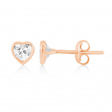 9ct Rose Gold Cubic Zirconia Heart Earrings (Small)