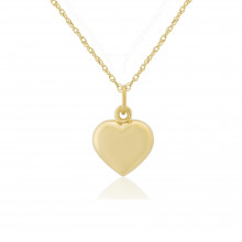 9ct Yellow Gold Puffed Heart Pendant Necklace (small)