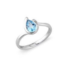 9ct White Gold Diamond Blue Topaz Pear Ring