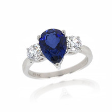 9ct White Gold Cubic Zirconia & Created Sapphire Ring