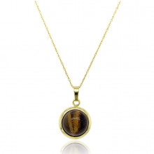 9ct Yellow Gold Domed Tiger Eye Pendant Necklace