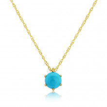 9ct Yellow Gold Turquoise Pendant Necklace