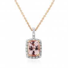 9ct Rose Gold Diamond & Morganite Pendant Necklace