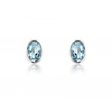9ct White Gold Aquamarine Oval Earrings