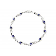 9ct White Gold Diamond Oval Tanzanites Bracelet