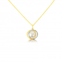 9ct Two Colour Gold Pearl Swirl Pendant Necklace