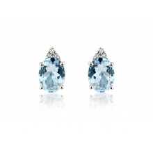 9ct White Gold Aquamarine & Diamond Earrings