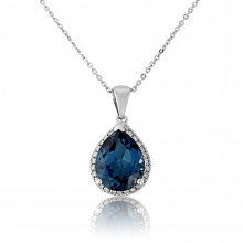 9ct White Gold Diamond & Blue Topaz Pendant Necklace