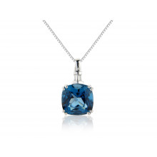 9ct White Gold Diamond Baguette London Blue Topaz Pendant Necklace