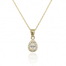9ct Yellow Gold Cubic Zirconia Pear Cluster Pendant Necklace