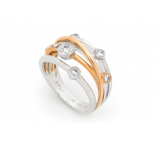 18ct White & Rose Gold Diamond Crossover Ring