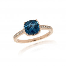 9ct Rose Gold Diamond & London Blue Topaz Ring