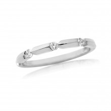 18ct White Gold Diamond Notch Ring