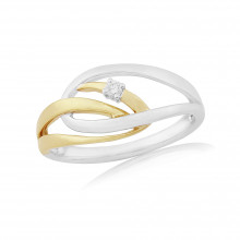 9ct Yellow & White Gold Diamond Cosmos Ring