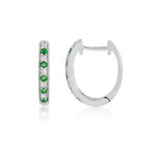 9ct White Gold Emerald & Diamond Hoop Earrings