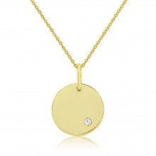 9ct Yellow Gold Diamond Engraving Disc Pendant Necklace