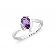 9ct White Gold Diamond Amethyst Pear Ring