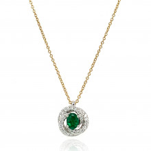 18ct Yellow and White Diamond With Emerald Twirl Pendant Necklace