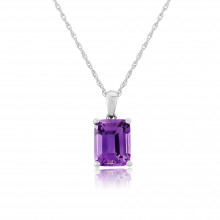 9ct White Gold Amethyst Pendant Necklace
