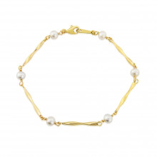 9ct Yellow Gold Cultured Pearl Fancy Link Bracelet