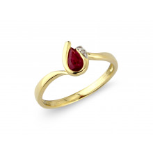 9ct Yellow Gold Diamond Ruby Pear Ring
