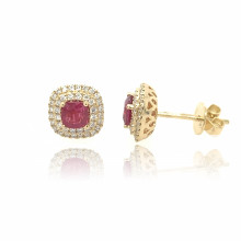 18ct Yellow Gold Diamond & Ruby Earrings
