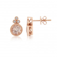 9ct Rose Gold Diamond & Morganite Earrings