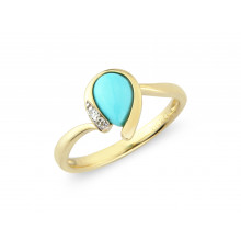 9ct Yellow Gold Diamond Turquoise Pear Ring