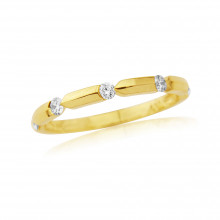 18ct Yellow Gold Diamond Notch Ring
