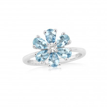 9ct White Gold Diamond & Aquamarine Flower Ring