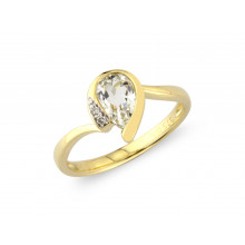 9ct Yellow Gold Diamond White Topaz Pear Ring