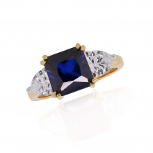 9ct Yellow Gold Created Sapphire Asscher & Heart Cubic Zirconia Cut Ring